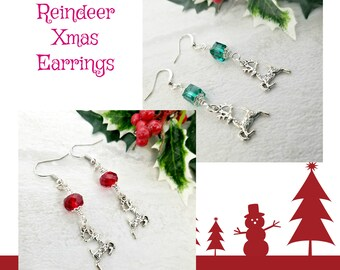 Xmas Earrings, Reindeer Jewelry for Women