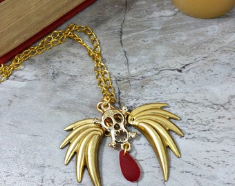 Gold Skull Necklace for Day of the Dead or Hallloween Jewelry, Sugar Skull, OOAK Handmade Necklace