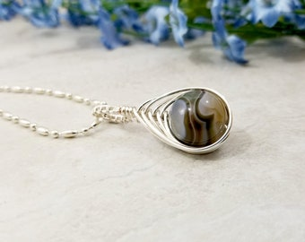 Botswana Agate Wire Wrapped Necklace, OOAK Herringbone Jewelry