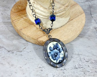 Blue Cameo Necklace, Something Blue Cameo Jewelry, Romantic Wife Gift
