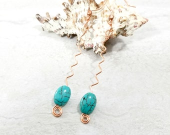 Zig Zag Jewelry - Turquoise Abstract Copper Earrings - Modern Hippie Earrings - Girlfriend Gift