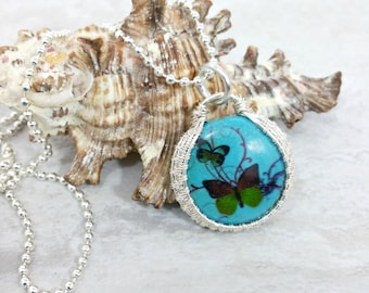 Wire Wrapped Butterfly Necklace, Howlite Jewelry