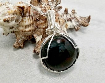 Wire Wrapped Black Onyx Pendant, Black Jewelry, Necklace for Men, Healing Gemstone Jewelry