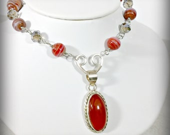 Carnelian Pendant, Fall Necklace