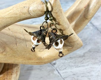 Creepy Cute Halloween Witch Hat Earrings, Halloween Gift or Wiccan Gifts
