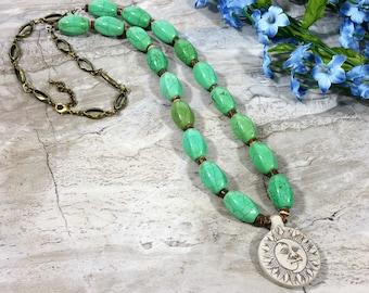 Celestial Sun Necklace with Sun and Moon Pendant