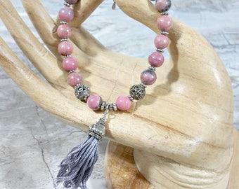 Pink Rhodonite Bracelet ~ Mediation Jewelry Inspirational Womens Gift