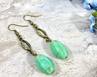 Gypsy Fashion Turquoise Jewelry, Earrings Green