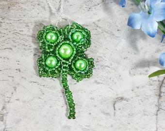 Clover Leaf Necklace, Lucky Shamrock Beaded Pendant Necklace, Celtic Jewelry