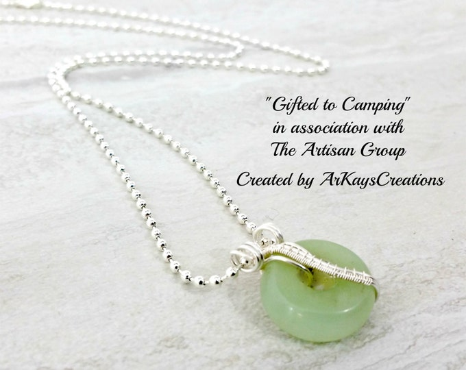 Featured listing image: Wire Wrapped Aventurine Necklace Gift for Her, Gemstone Donut Necklace