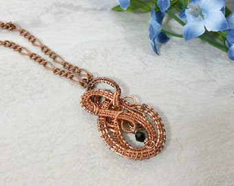 Wire Wrapped Pendant in Oxidized Copper, Woven Wire Necklace, Wire Wrapped Jewelry