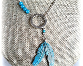 Blue Feather Lariat Necklace, Bohemian Jewelry Gift for Her