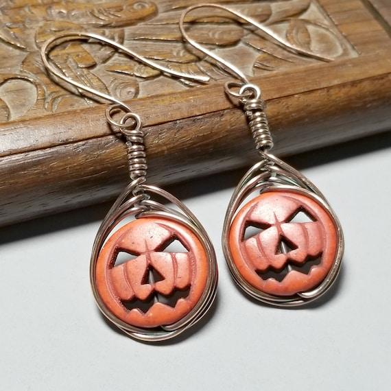Halloween earrings Tunisian crochet earrings holiday jewelry, Ladies jewelry Pumpkin Earrings Handcrocheted earrings Ladies accessories