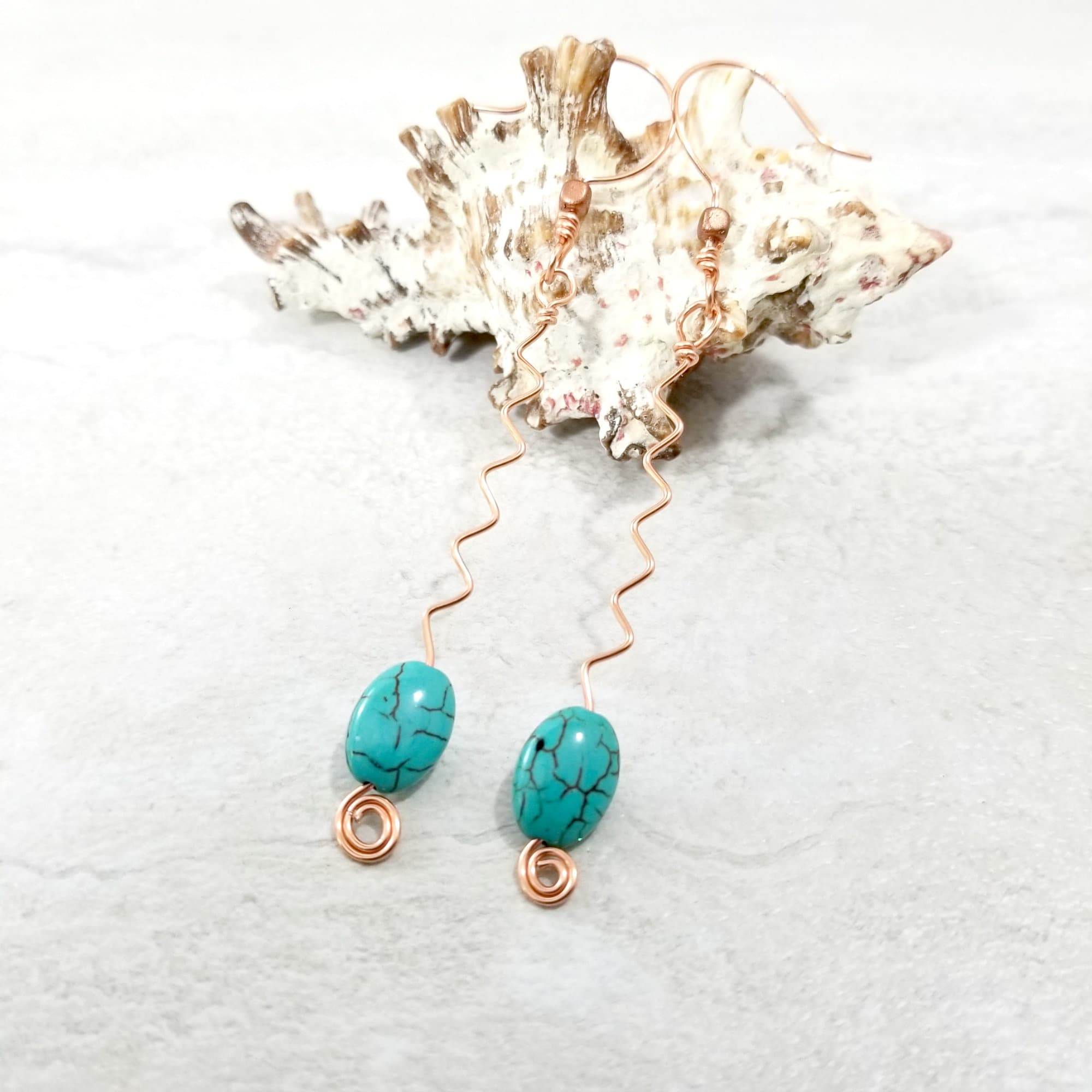Turquoise Moon Earrings Boho Jewelry Gifts for Her Gold Jewelry Hippie Modern Jewelry