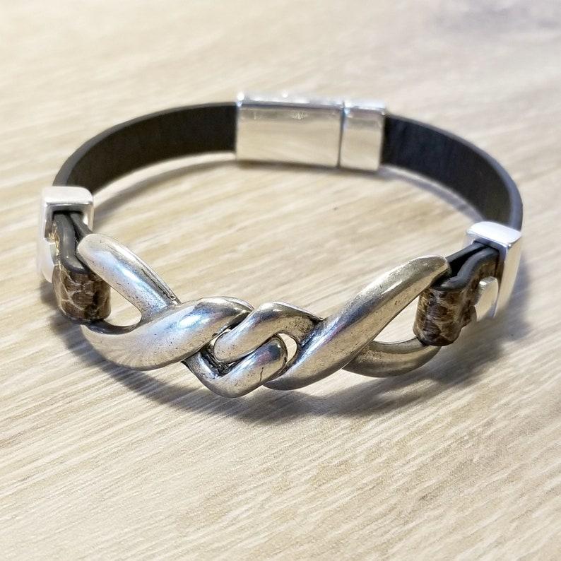 A Men/'s bracelet     black genuine leather    square glass bead  handmade  gift for men
