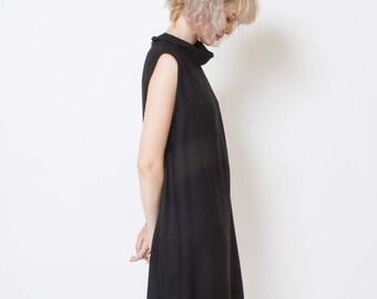 Black summer dress, minimal, cowl neck, casual dress, sundress, little black dress, short, loose fit dress, sleeveless top, midi length