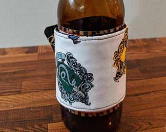 Harry Potter Hogwarts Badges, Deathly Hallows Beverage Huggie- Coffee, Beer, Soda, Iced Coffee Sweat Band- Reusable, Reversible, Adjustable