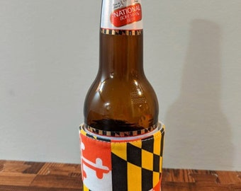 Maryland Flag, Blue Crab Beverage  Huggie-Coffee, Beer, Soda Drink Sleeve - Iced Coffee Sweat Band- Reusable and Reversible, Adjustable Size
