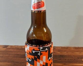 Maryland Flag Orioles, Ravens Beverage Huggie- Coffee, Beer, Soda, Drink Sleeve- Iced Coffee Sweat Band- Reusable and Reversible, Adjustable