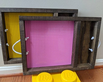Lego Building Tray - Travel Case - Display with Handles