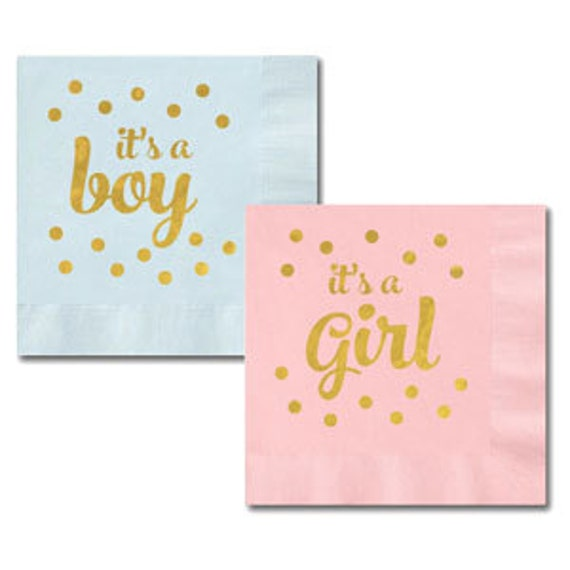 1 set of girl and 1 set of boy baby shower napkins it's a | etsy