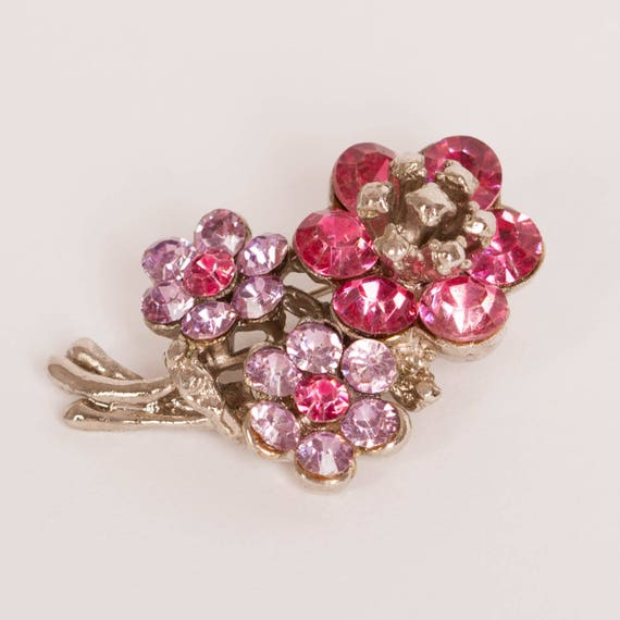 Pink Rhinestone Brooch with Drops Christmas Gift for Her Gift for Women Sustainable Fashion Vintage Trombone Clasp