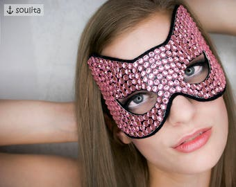 Mask *Diamond Cat* - Pink Cat Mask with Rhinestones
