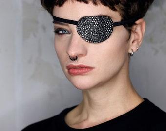 Eye Patch *Metallic Sparkle* - Metal Grey Rhinestones | Cosplay
