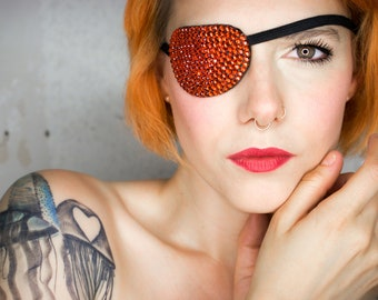 Eye Patch *Orange Sparkle* - Rinestones   Cosplay
