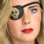 Eye Patch *Golden Skull* - Leather gold | Pirate Accessory | Cosplay