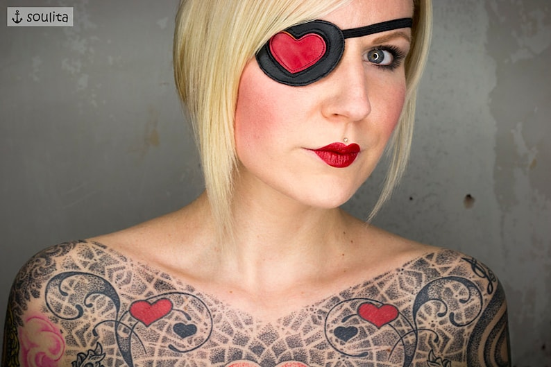 Eye Patch Queen of Hearts  Red Leather Heart  Cosplay image 0