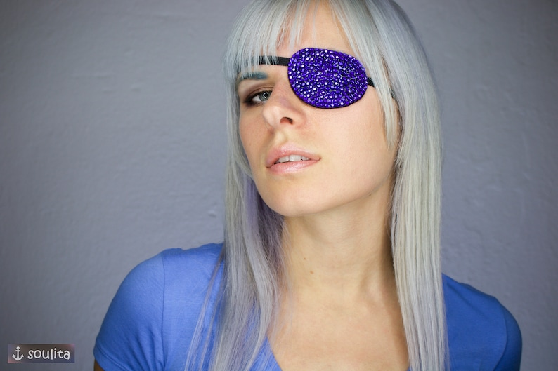 Eye Patch Blue Sparkle  Rhinestones  Cosplay image 0