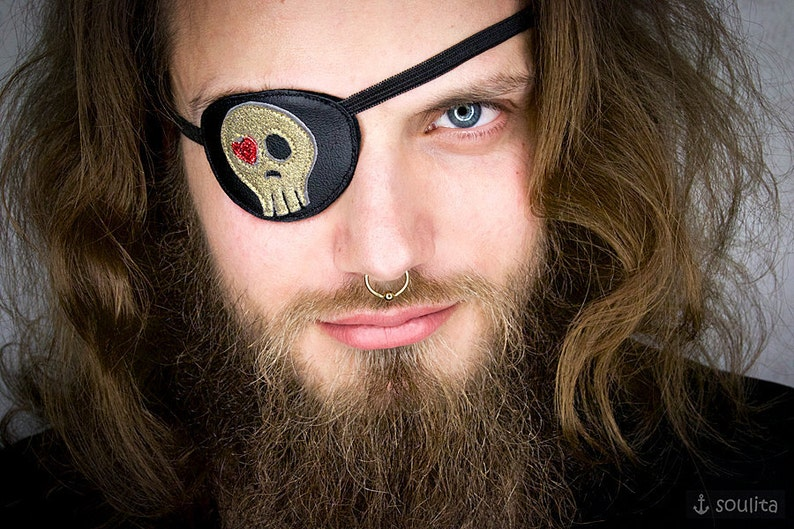 Eye Patch Golden Skull with Heart  Leather  Pirate image 0
