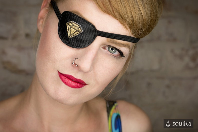 Eye Patch Golden Diamond  Leather gold  Cosplay image 0