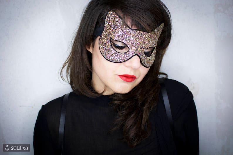 Mask Starlight Disco Cat  Glitter Felt Cat Mask image 0
