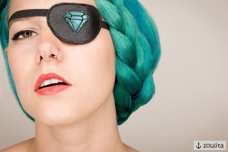 Eye Patch Blue Diamond  Leather  Cosplay image 0
