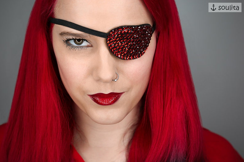 Eye Patch Red Sparkle  Rhinestones  Cosplay  image 0