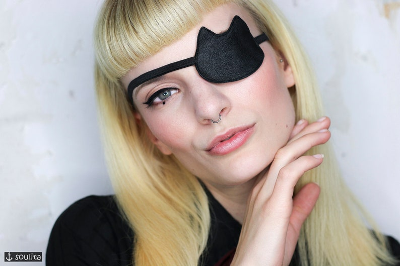 Eye Patch Black Cat   Leather Eye Patch  Cosplay image 0