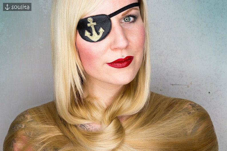 Eye Patch Golden Anchor  Leather gold  Pirate Cosplay image 0