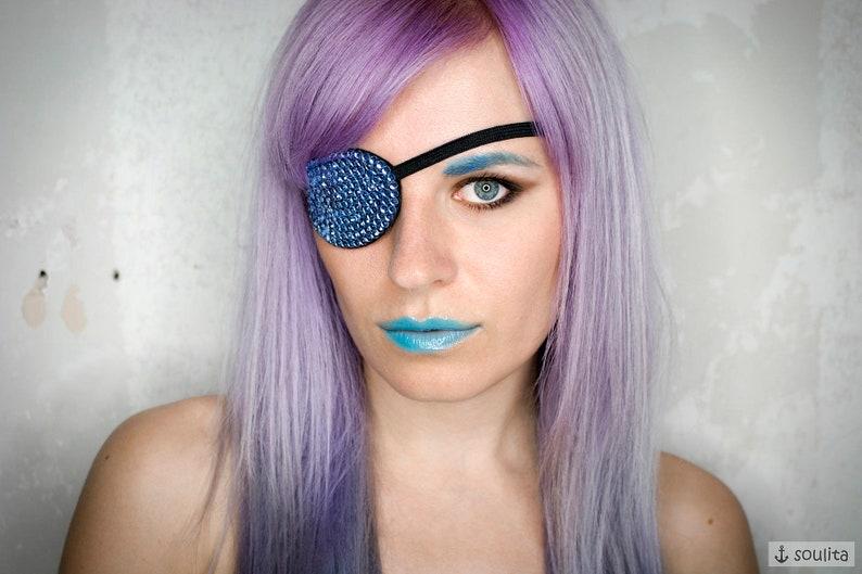 Eye Patch Blue Sea  Rhinestones light blue  Mermaid  image 0
