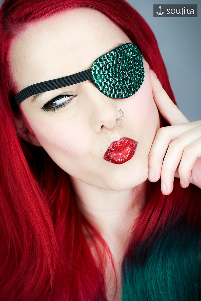 Eye Patch Green Sparkle  Rhinestones  Cosplay image 0