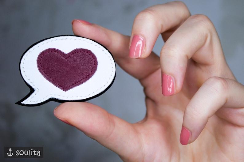 Brooch Hello Heart  Badge Speechbubble  Pin image 0