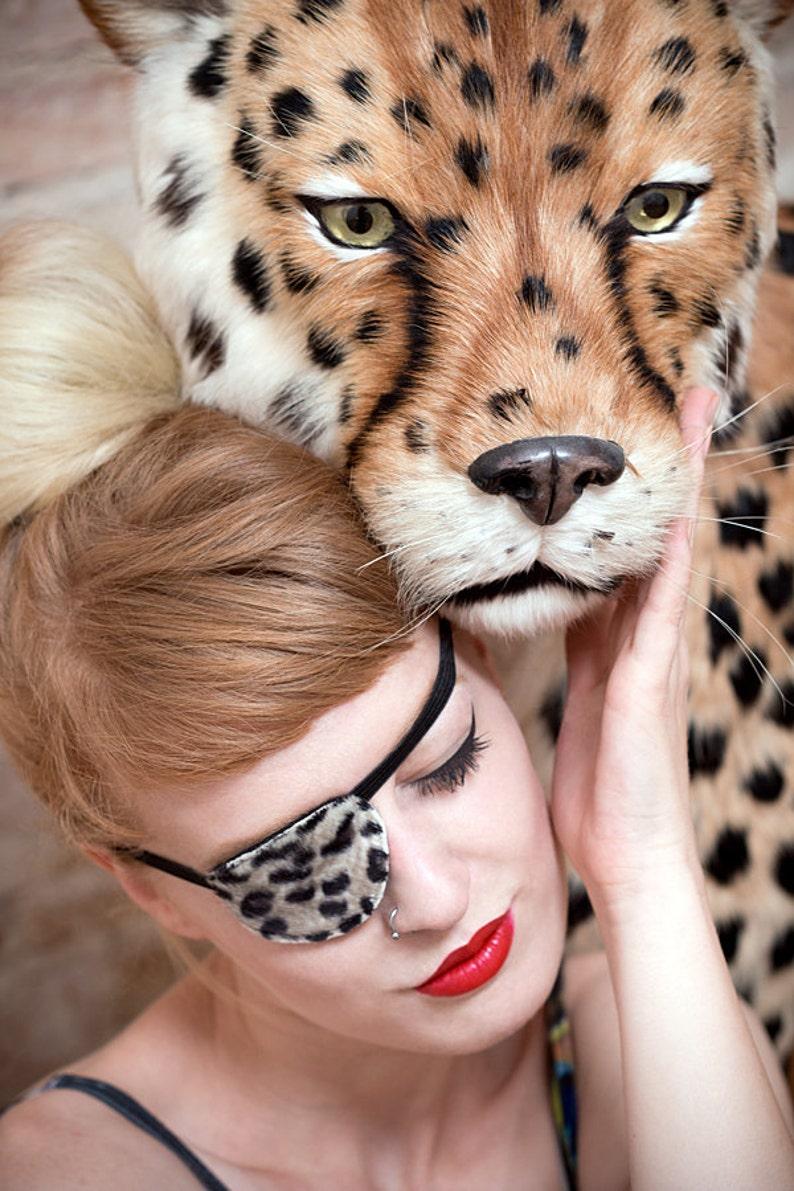 Eye Patch Leo  Animal Print Eye Patch  Leopard Feaux Fur  image 0