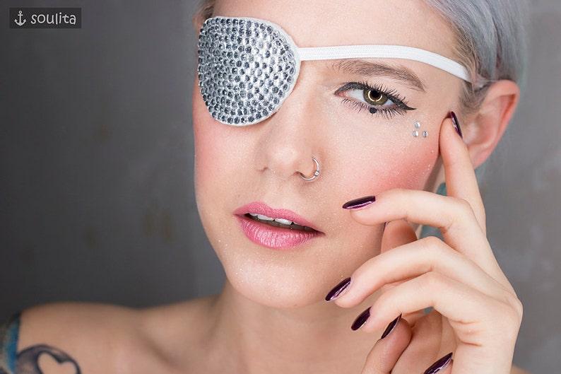 Eye Patch Stardust  Silver Rhinestones  Cosplay image 0