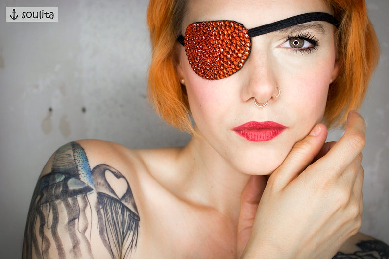 Eye Patch Orange Sparkle  Rinestones   Cosplay image 0