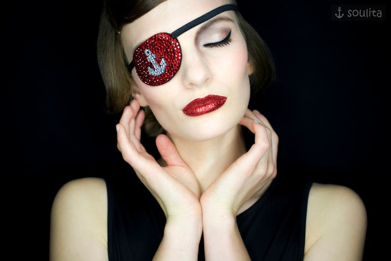 Eye Patch Sparkling Anchor  Red Rhinestones  Cosplay  image 0