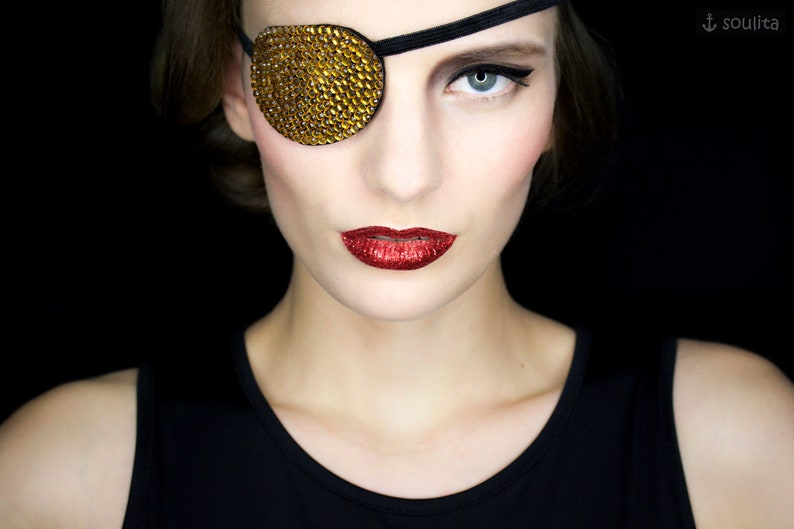 Eye Patch Golden Sparkle  Rhinestones gold  Cosplay image 0