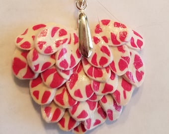 Pink and White Feathered Polymer Clay Angel Heart Pendant Charm