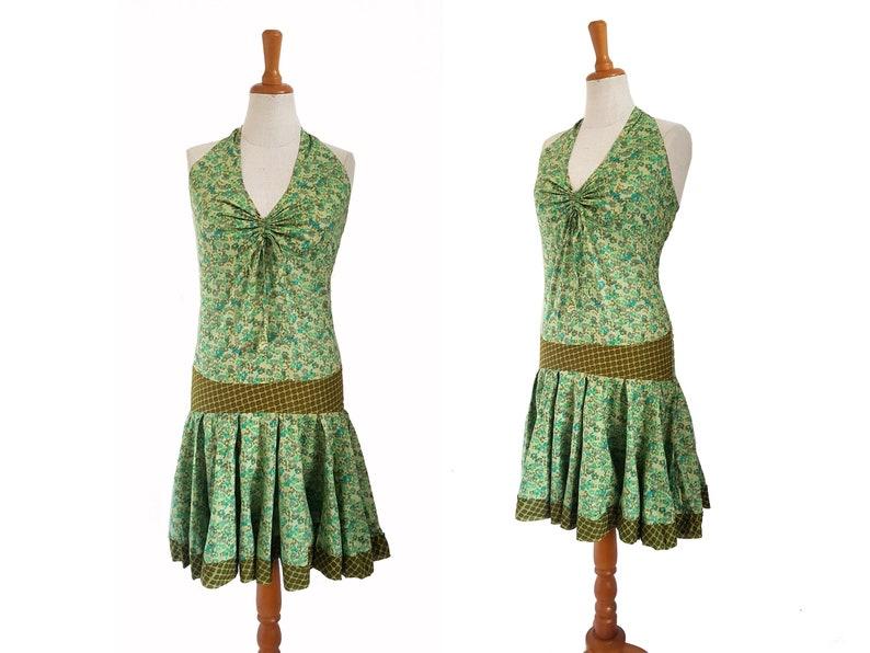 Neckholderkleid Kleid grün oliv knielang kissagato ...