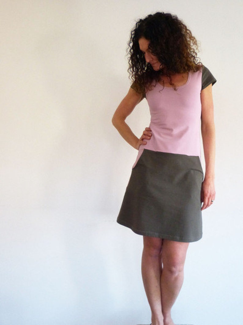 short sleeve taupe and old Rose Dress with pockets